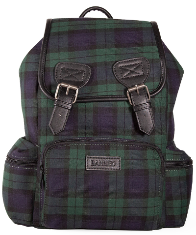 Banned Alternative Green Tartan Backpack