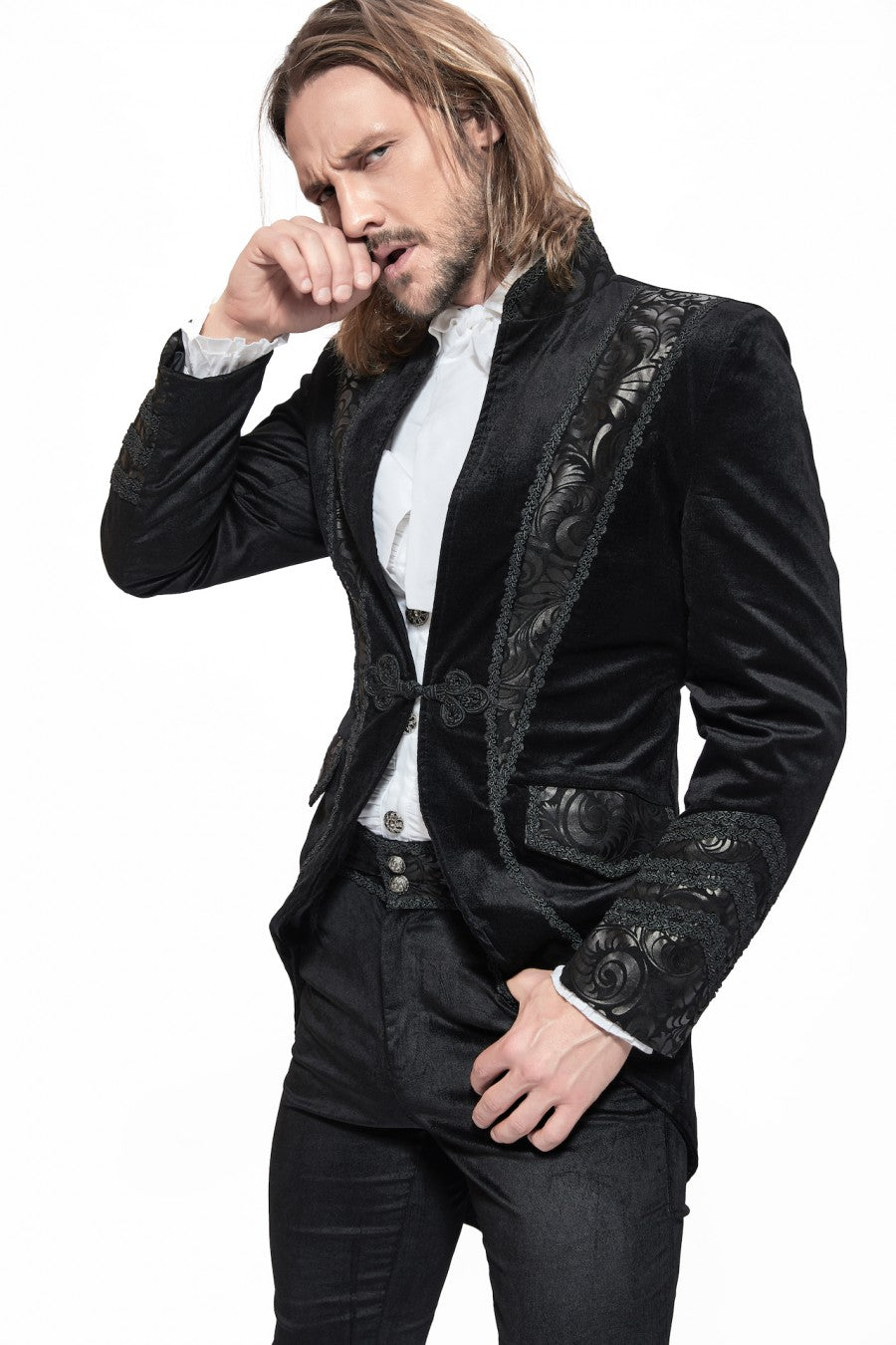 Pentagramme Men's Black Velvet and Faux Leather Gothic Swallowtail Jacket