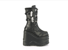 Load image into Gallery viewer, Demonia Wave-150 Bat Buckle Platform Boots in Black Vegan Leather#