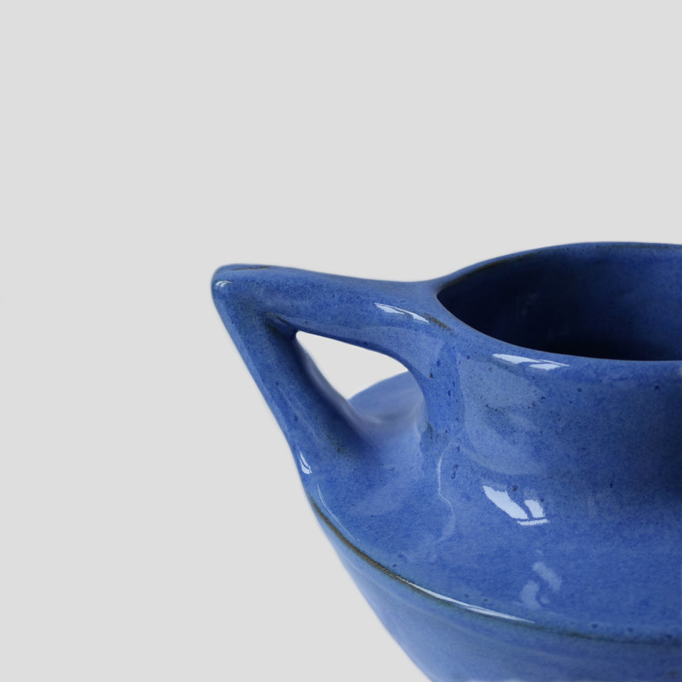 Suiban Ikebana vase electric blue