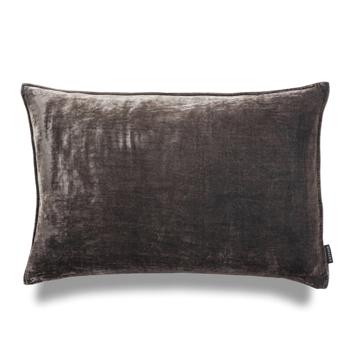 Mr Grey Lumbar Silk Velvet Luxury Cushion by Nathan + Jac  EDITION