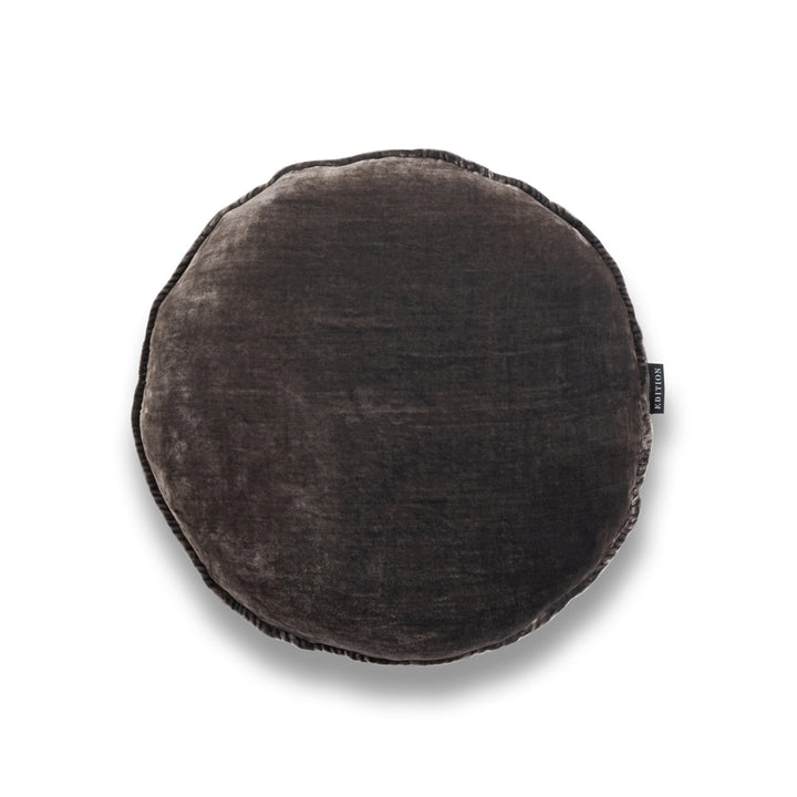 Mr Grey Round Silk Velvet Luxury Cushion by Nathan + Jac - EDITION
