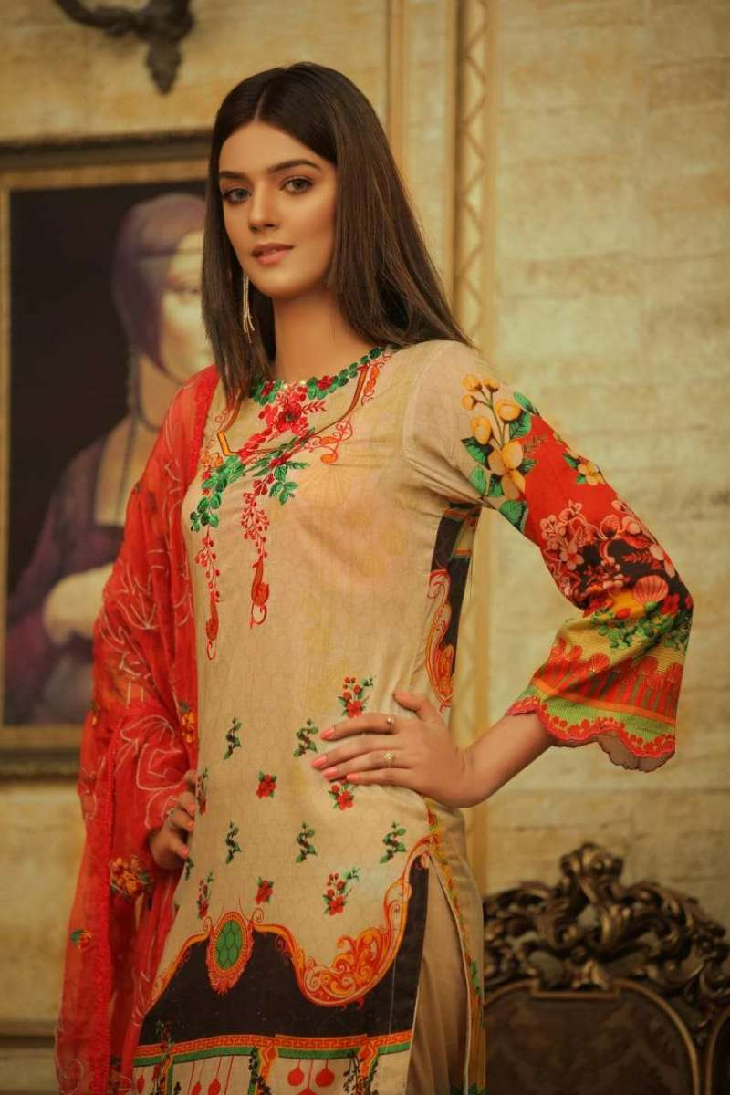 Embroidered Lawn 3 PC Ar#110
