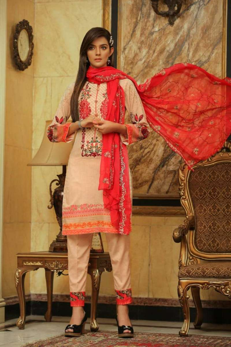 Embroidered Lawn 3 PC Ar#107