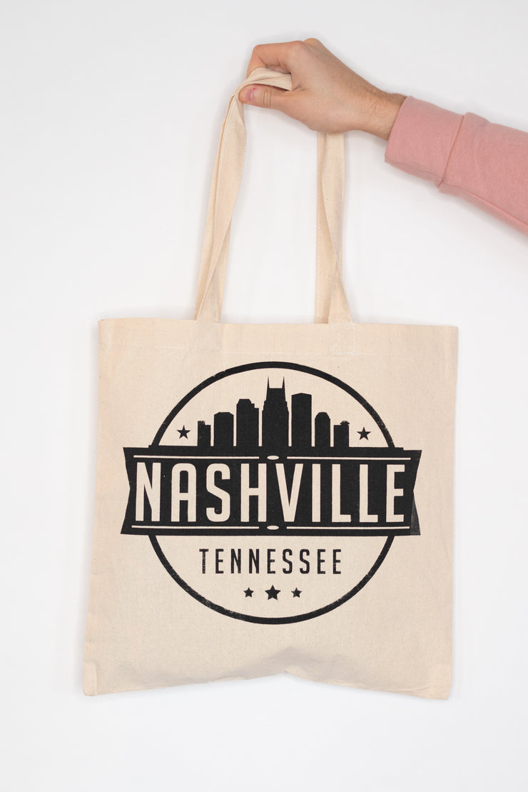 Nashville Skyline Stamp Tote Bag