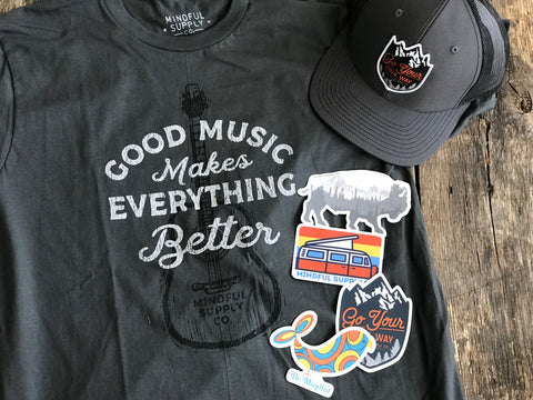 """Good Music Makes Everything Better"" Tee shirt, Various Stickers and ""Go Your Own Way"" hat"