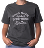 "Asphalt tee with guitar graphic. ""Good Music Makes Everything Better"" white lettering over the guitar. 100% Cotton"