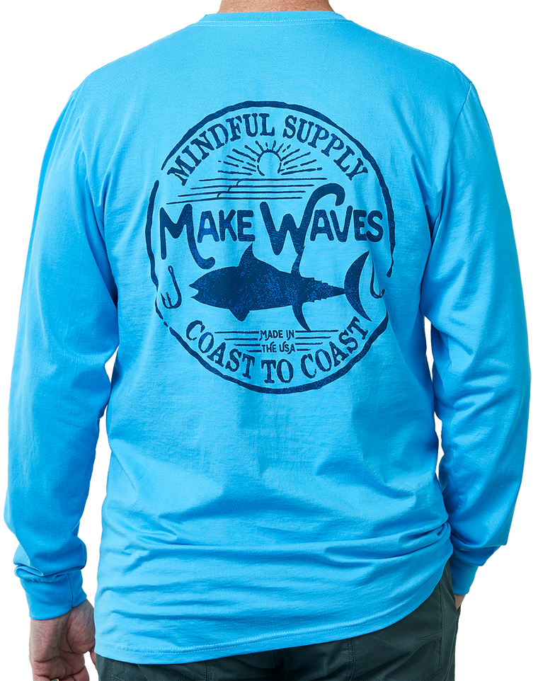 Make Waves long sleeve pocket men's t-shirt