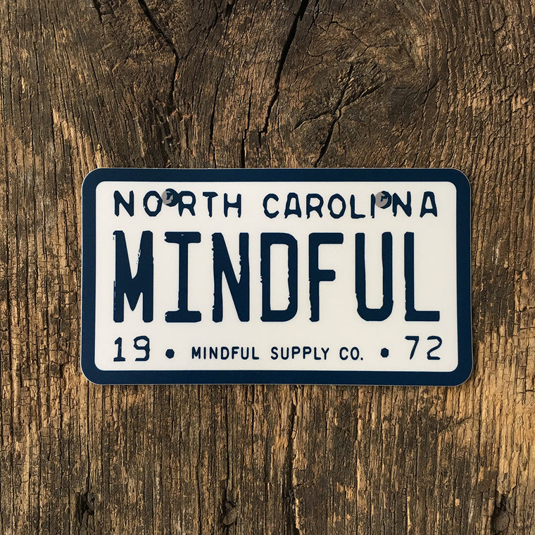 Mindful Plate NC All weather Sticker