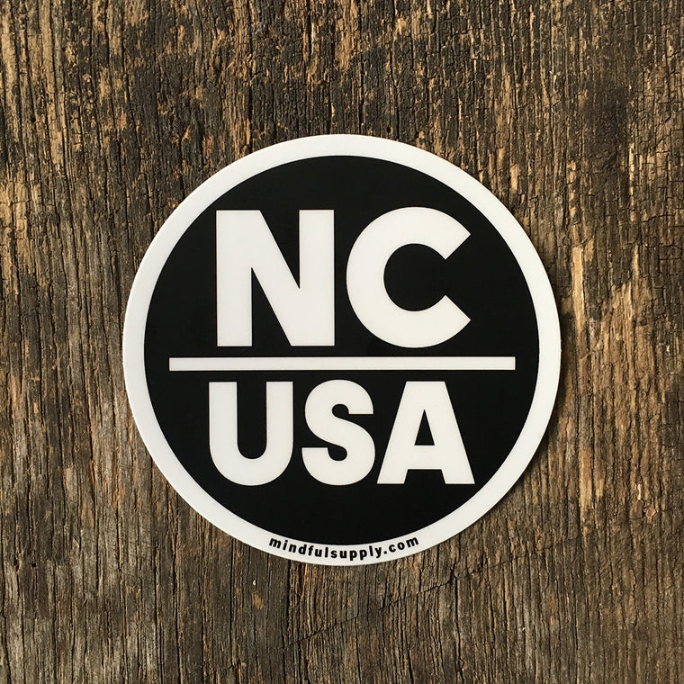 NC USA Black and White All Weather Sticker Made in the USA