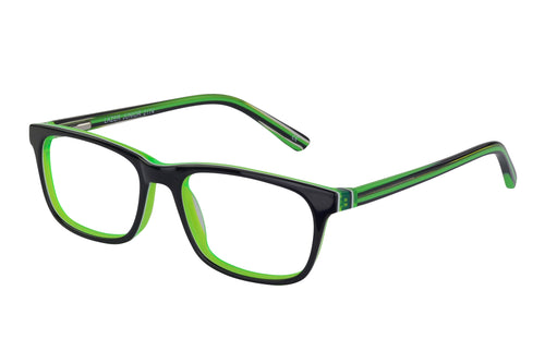 Lazer 2174 kids black green glass frames
