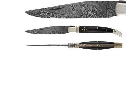 black horn damascus knife