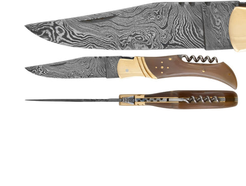 blonde horn Damascus knife