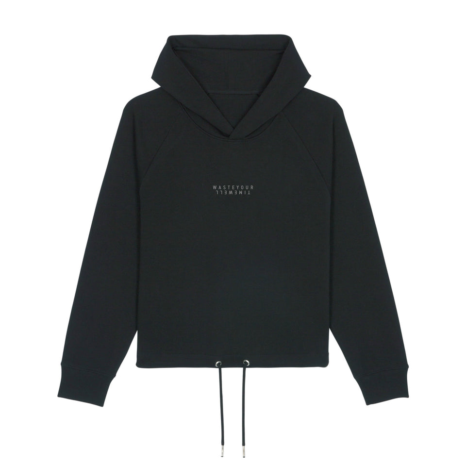 Cropped Hoodie Double Small – Black