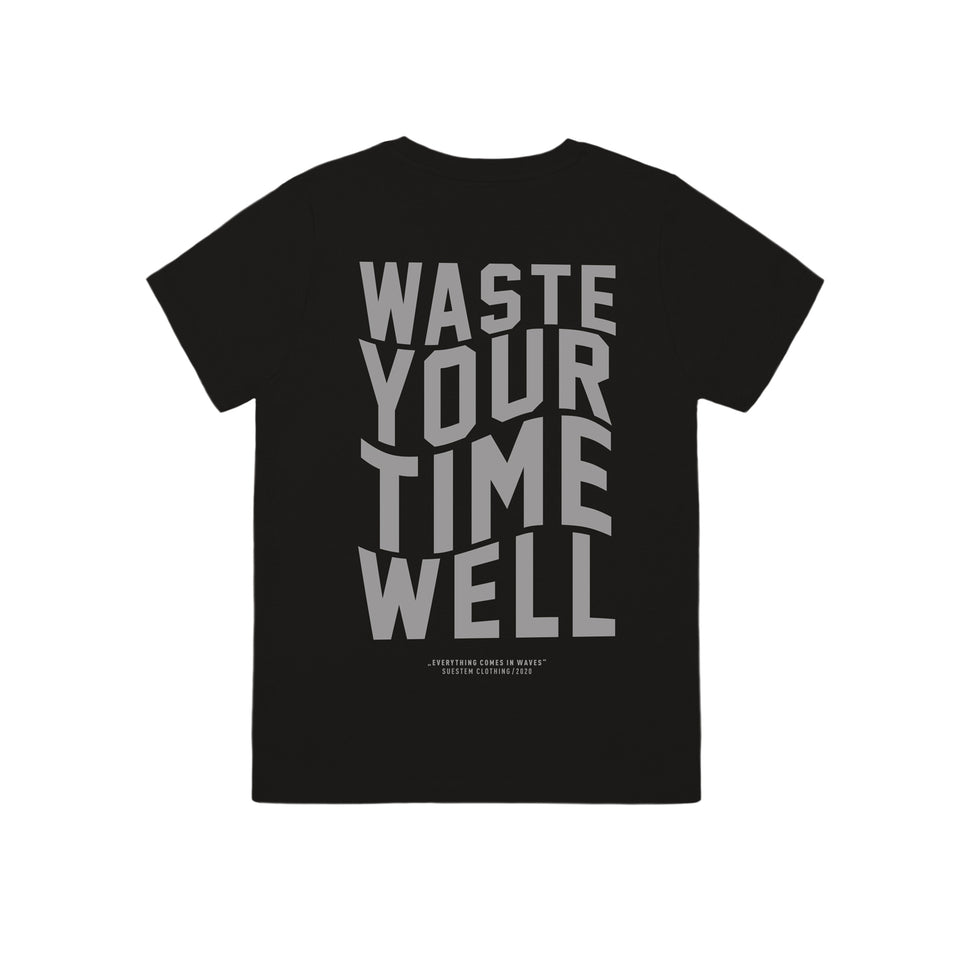 Kids T-Shirt Slogan Waves – Black