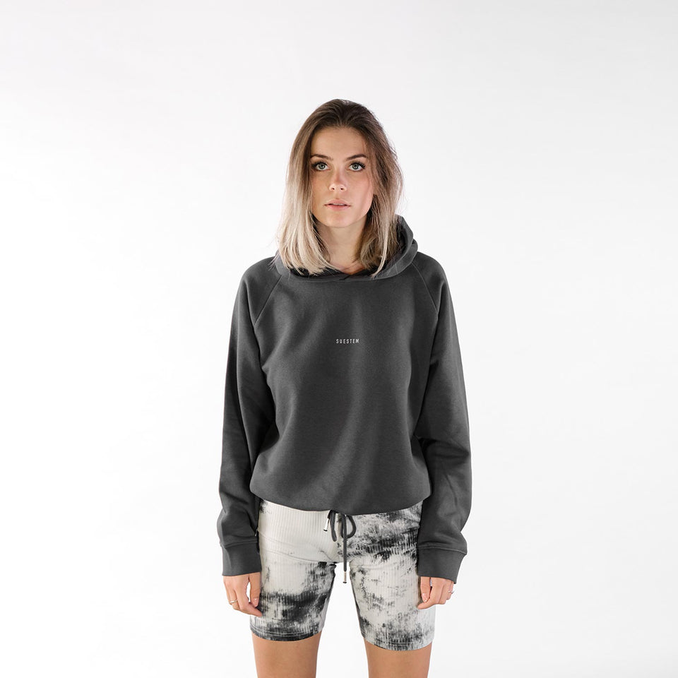 Cropped Hoodie Double Back – Charcoal