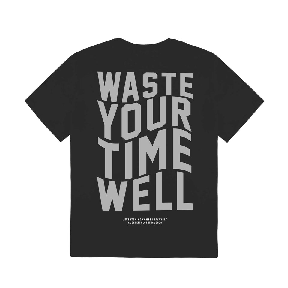 T-Shirt Slogan Waves – Black