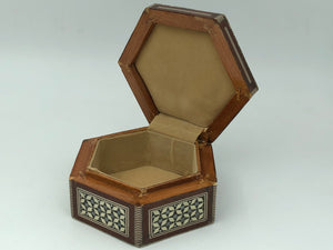 Shell Engraved Wooden Box - Hexagon