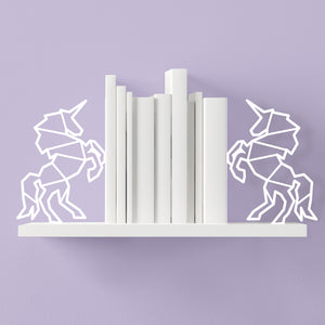 Unicorn Shaped White Bookends