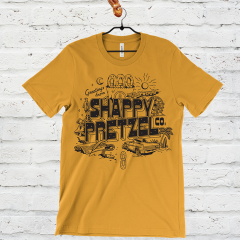 Greetings from Shappy Pretzel Tee - Mustard Yellow