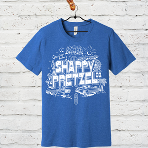 Greetings from Shappy Pretzel Tee- Vintage Heather Blue