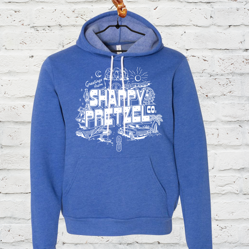 Greetings from Shappy Pretzel Hoodie- Heather Blue