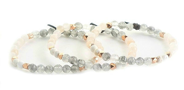 Be Unapologetically You Mini Bracelet - blush and gray gemstones