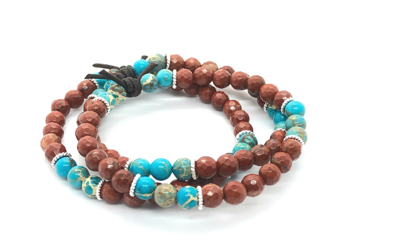 Red Jasper and Sea Sediment Jasper Bracelet