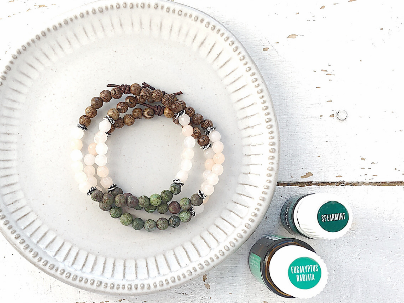 Essential oil bracelets for yoga and meditation