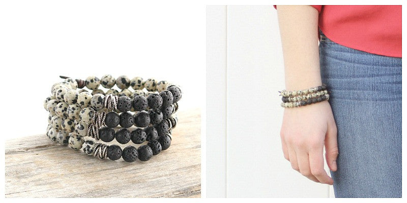 Grounded Bracelet, essential oil diffuser bracelet stack