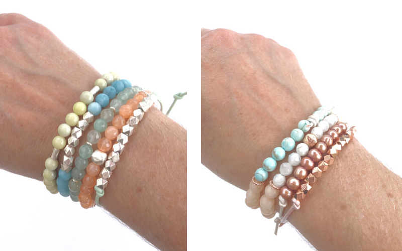 Leather mini stacking bracelets with metal nuggets and pearls