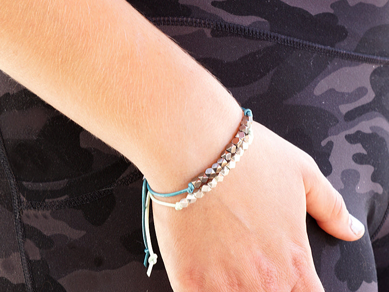 Colored leather stack bracelets with silver nuggets