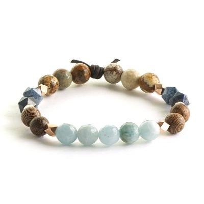 Be Fierce - Aquamarine, Picture Jasper, Dumortierite and Wood Essential Oil Diffuser Bracelet