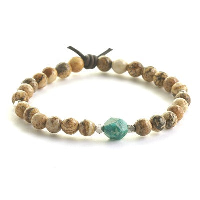 Be Kind Picture Jasper and Brazil Amazonite bracelet - inspirational gifts for women