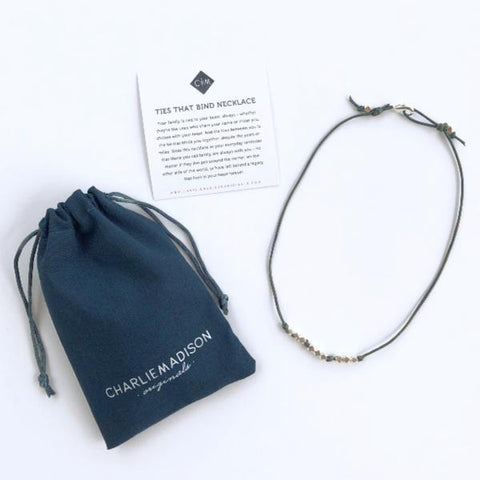 DIY Necklace Kit - Silver & Blue Leather | Ties That Bind Leather Necklace