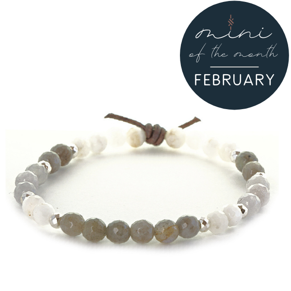 Labradorite, Moonstone, & Jade Mini Bracelet | February 2021 Mini of the Month