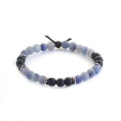 Focus mini lava stone and Blue Aventurine bracelet for diffusing essential oils on the go