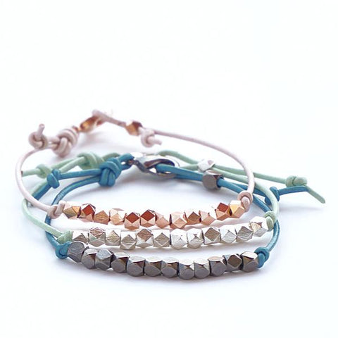 Colored Leather Mini Stackers - Metals | Leather Mini Bracelets