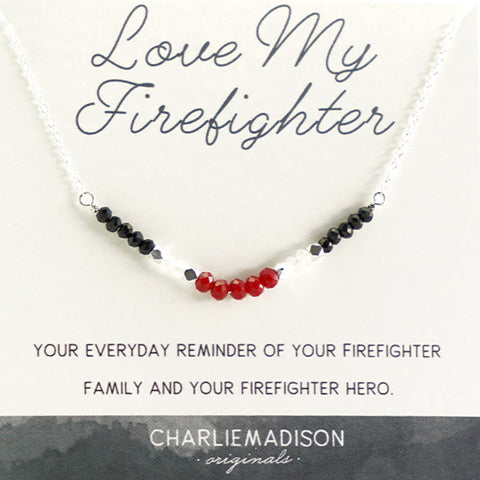 Love My Firefighter Necklace | A Necklace for Firefighter Families