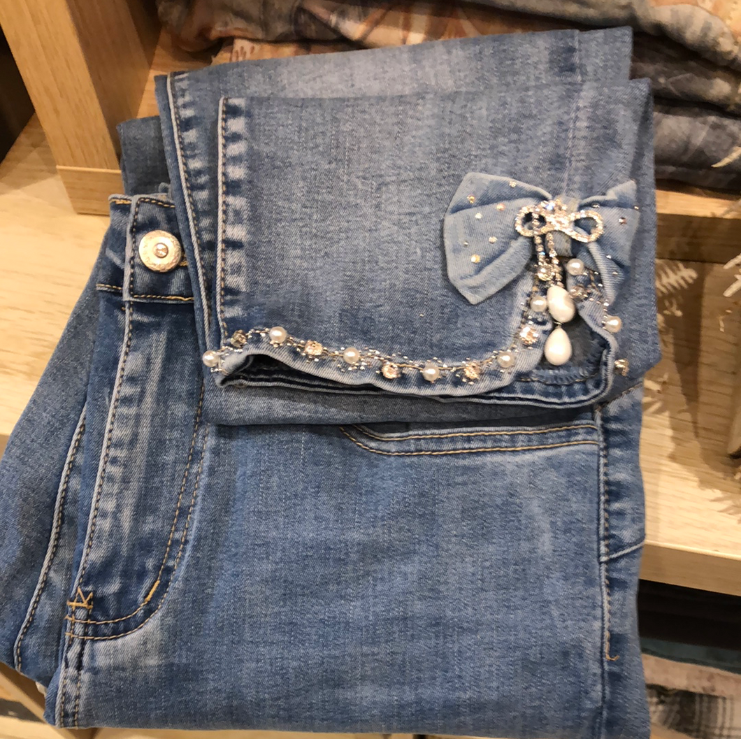Jeans noeud grande taille