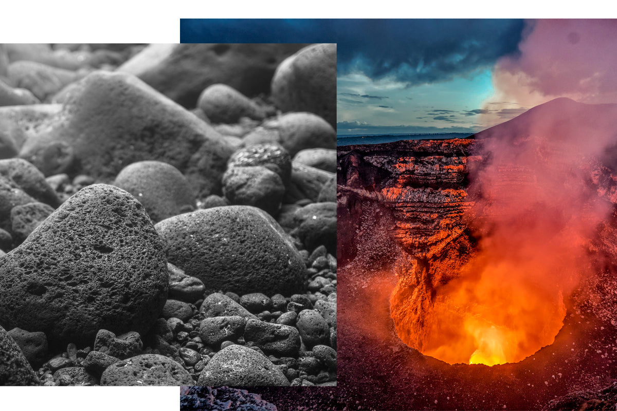 Lava Stone Appearance as it erupts from a volcano