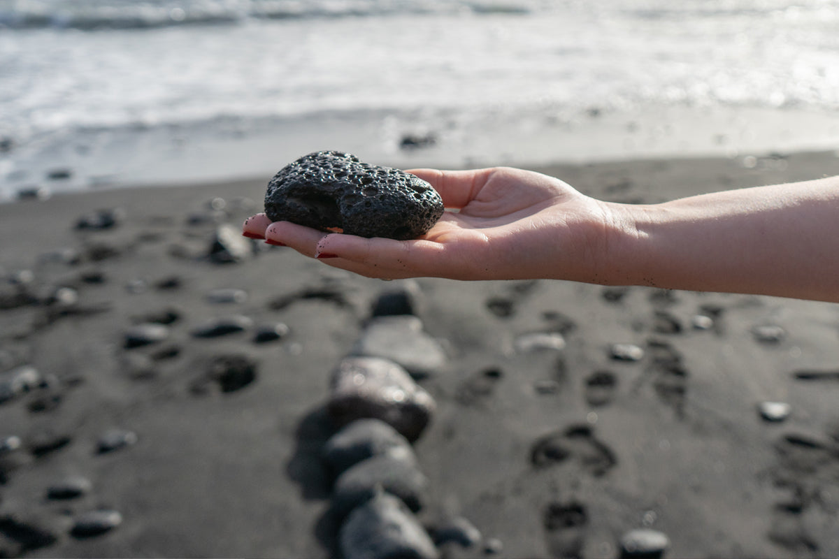 Lava stone shown in natural found state on beach.....