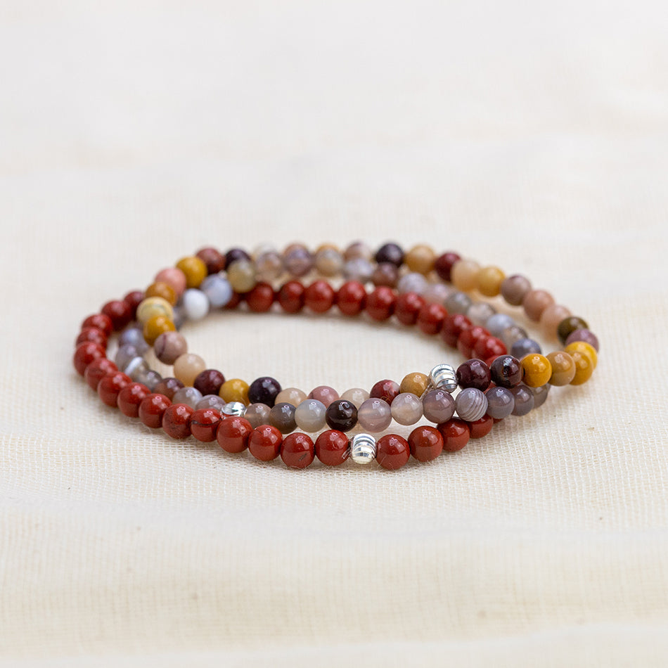 Healing Energy Bracelet Set with Red Jasper, Kookaite Jasper and Botswana Agate Beads