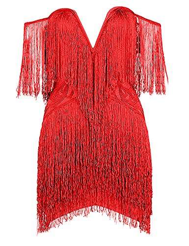 Womens V Neck Off Shoulder Tassels Embellished Mini Fringe Dress