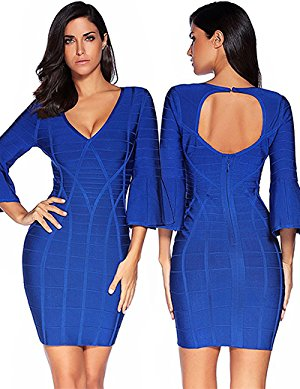 Womens trumpet sleeves V Neck Bandage Bodycon Dress