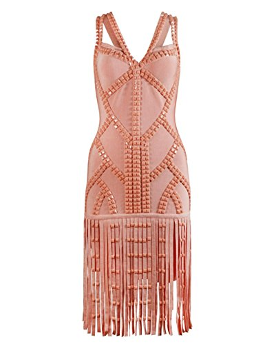 Womens Tassels Beads Strap Bandage Dress Party Club Dress
