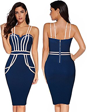 Womens Vneck Double Straps Celebrity Party Bandage Dress