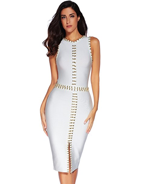 Womens Sleeveless Splitting Beaded Bandage Party Dress