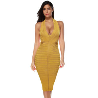 Yellow Halter Bodycon Bandage Dress