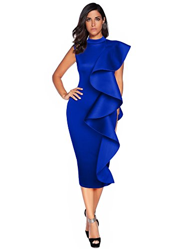Womens Sleeveless Patchwork Ruffles Bodycon Vestidos Party Dresses Clubwear